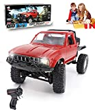 YIKESHU Rc Truck Remote Control Off-Road Racing Vehicles 1:16 2.4G 2CH 4WD Off-Road Kids RC Toy Climb Semi Truck RTR Trailer The LED Lights (Red)
