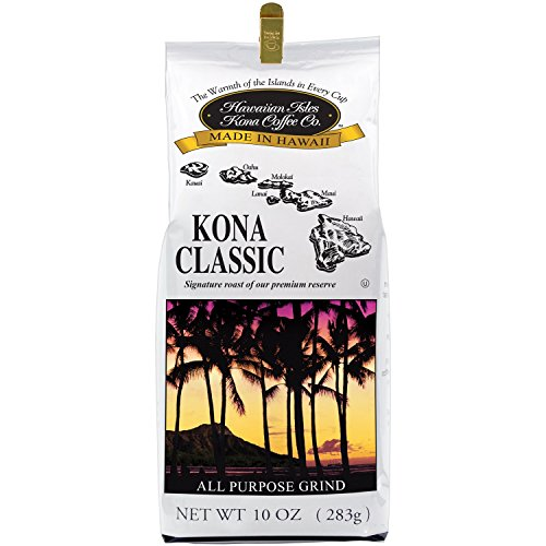 Hawaiian Isles Kona Coffee Co. Kona Classic Ground Coffee, Medium Roast, 10 ounce bag