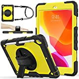 SEYMAC stock iPad 9th/8th/7th Generation Case, 3-Layer Protection Case with [360 Degrees Rotating Stand] Hand Strap &[Pencil Holder] for 2020/2019 New iPad 9 /8 /7 Generation 10.2 Inch (Yellow+Black)