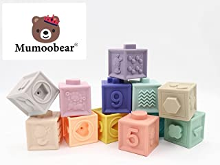 Mumoo Bear Baby Blocks Soft Building Blocks Baby Toys Teethers Toy Educational Squeeze Play with Numbers Animals Shapes Te...