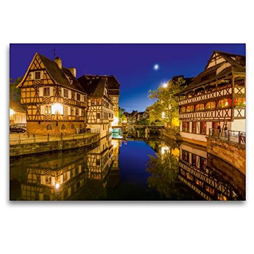 Premium Textil-Leinwand 120 x 80 cm Quer-Format típico Fachwerkhäuser en Petite France, Estrasburgo š Wandbild, HD-Bild en Keilrahmen, Fertigbild sobre calidad Vlies Leinwanddruck de Werner Dieterich