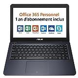 Asus L402NA-GA042TS PC portable 14' Bleu nuit (Intel Celeron, 4 Go de RAM, SSD 32 Go, Windows 10) + Office 365 Personnel inclus pendant 1 an