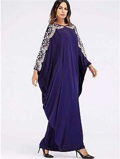 LJMSL Abayas Casual Islamic Abaya Embroidery Sequined Maxi Dress Bat Sleeve Kimono Long Robe Gowns Ramadan Middle East Ara...