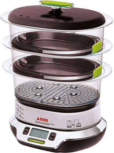 Seb VitaCuisine Compact Dampfgarer, 3 Dampfkörbe, BPA-frei, 2 Glasplatten, Eierhalter, Rezeptbuch, patentierte ultra-kompakte Aufbewahrung VS405E00