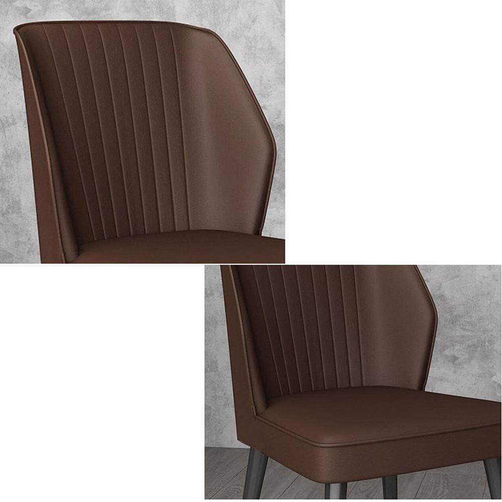 DALL Chaises De Salle À Manger Design Moderne Chaise De Table Pattes en Métal Chaise De Café De Loisirs Siège en PU Chaise De Maquillage Assemblée (Color : Blue) Brown