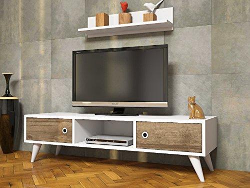 ASPEN Wohnwand – Weiß / Nussbaum – TV Lowboard mit Wandregal in modernem Design (Weiß / Nussbaum) - 2