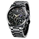 BY BENYAR Reloj para Hombre Sports Casual Acero Inoxidable Fecha analógica Diseñador Cronógrafo Resistente al Agua Reloj de Cuarzo para Hombre