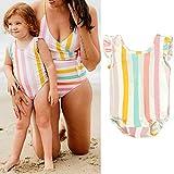 FDRE 12M-5Y niños pequeños bebés niñas niños sin Mangas Volante Colorido Traje de baño a Rayas Traje de baño Bikini Traje de baño Ropa de Playa 3to4Years