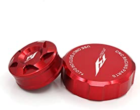 crazy sport Front Rear Brake Fluid Reservoir Cover Cap For YAMAHA YZF YZFR1 YZF-R1 2009-2014 Motorcycle Accessories CNC With Logo (Red)