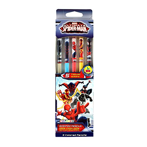 Scentco Marvel Spider-Man Colored Smencils - Scented Coloring Pencils, 5 Count