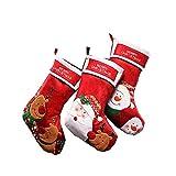 Noël Toison Décoration Bonbons Chaussettes 3 Rouge Père Noël Chaussettes d'arbre De Noël Pendentif Cadeaux pour Enfants...