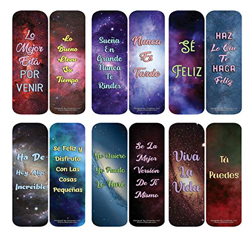 Creanoso Spanish Inspirational Galaxy Bookmarks Cards (60-Pack) - Premium Quality Gift Ideas for Children, Teens, & Adults for All Occasions - Stocking Stuffers Party Favor & Giveaways