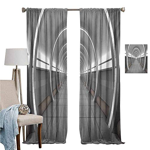 DRAGON VINES Wear Pole Curtains Noise Reducing Curtain Galactic Place with Oval Shaped Ceiling Force Alien Life Apollo Comics Graphic Design Gray for Home Decoration Set of 2 Panels W96 x L84