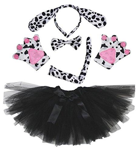 Petitebelle Diadema Bowtie Guantes de Cola Tutu niña Disfraz de 5 Piezas Un tamaño Perro dálmatas
