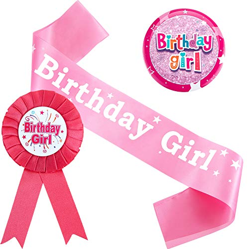 Set de Decoración de Niños de Cumpleaños Incluye Insignia de Niña de Cumpleaños, Insignia de Cinta de Premio de Birthday Girl y Fajín Rosa de Birthday Girl para Suministros Fiesta Niña