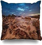 Doble Cojines Fundas 18' Clima Azul Aéreo Mar Ola Roca Horizonte Horizonte Nublado Escena Arriba Naturaleza Aire Atmósfera Brillante Funda de Almohada Suave para la Piel