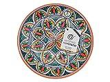 Cerámica rambleña | plato decorativo para colgar en pared | plato de cerámica | rojo-verde-azul | 100% hecho a mano | 27x27x4,5 cm