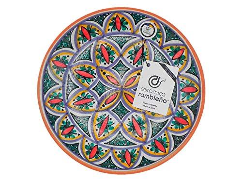 CERÁMICA RAMBLEÑA | Plato Decorativo para Colgar en Pared | Plato de cerámica | Rojo-Verde-Azul | 100% Hecho a Mano | 21x21x4 cm