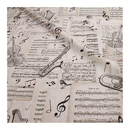 Stoff Baumwolle Polyester Geige Trompete Noten Notenschlüssel klassische Musik