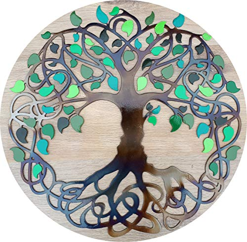 Árbol de la Vida Celta, Hojas Verdes, decoración de Pared de Metal de Color Calor