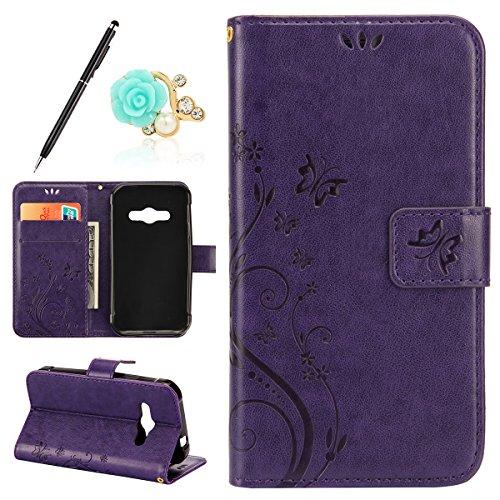 Uposao Kompatibel mit Samsung Galaxy Xcover 3 Handytasche Handy Hüllen Flip Case Cover Schmetterling Schutzhülle Brieftasche Leder Tasche Leder Hülle Klapphülle Magnetverschluss,Dunkellila