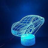 Pequeño Coche Deportivo Lámpara De Ilusión Óptica Led De Luz Nocturna 3D, Lámpara De Escritorio Táctil Cambiante De 7 Colores Para Cumpleaños De Niños