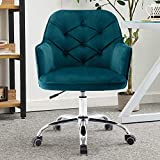 Home Office Chair, Height Adjustable Retro Swivel Rolling Wheels Leisure Chair with Metal Base, Velvet Task Makeup Chair Ergonomic Computer Chair for Home Office Vanity and Cafe Hotel (Lake Blue)