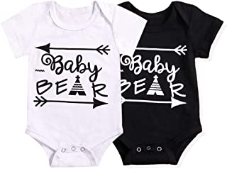 Xuuly Newborn Baby Boy Girl Clothes Cute Letter Onesies Summer Bodysuit Romper Outfits