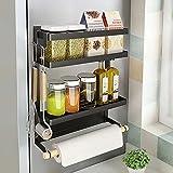 Foldable Magnetic Spice Rack Refrigerator Paper Towel Holder Multi-Purpose Kitchen Storage Magnetic Shelf Rustproof Spice Jars Holder, Black