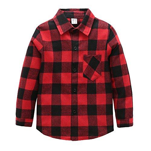 Grandwish Camicia Quadri a Maniche Lunghe per Ragazze e Ragazzi Rosso Nero 12 Anni