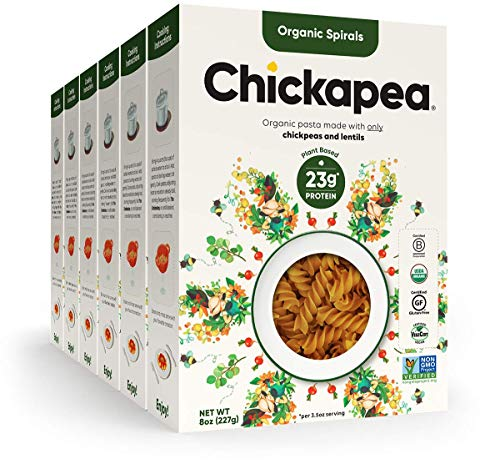 Chickapea Gluten Free Chickpea Pasta - Spirals - Certified Organic Healthy Vegan Pasta, High in Protein, GF, Lower Carb, Kosher and Non GMO - 8oz each (6 Pack)