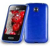 Cadorabo Funda para LG L3 II (2.Gen 2.SIM) en Azul - Cubierta Proteccíon de Silicona TPU Delgada e Flexible con Antichoque - Gel Case Cover Carcasa Ligera