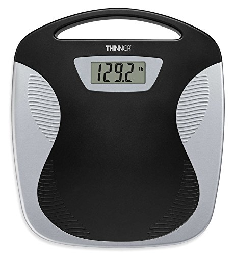 Conair Thinner TH280 Digital Precision LED Portable Bathroom Scale, Black/Silver