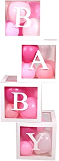 REVELL Baby Shower Balloon Boxes Party Decorations For Boys Girls. 4 Piece Transparent Balloon Blocks With Individual Letters BABY. Designed for Baby Shower Bridal Shower First Birthday Party Favor Gender Reveal Backdrop Home Decor