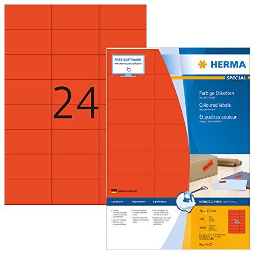 HERMA 4407 Farbige Etiketten DIN A4 (70 x 37 mm, 100 Blatt, Papier, matt) selbstklebend, bedruckbar, permanent haftende Farbetiketten, 2.400 Klebeetiketten, rot