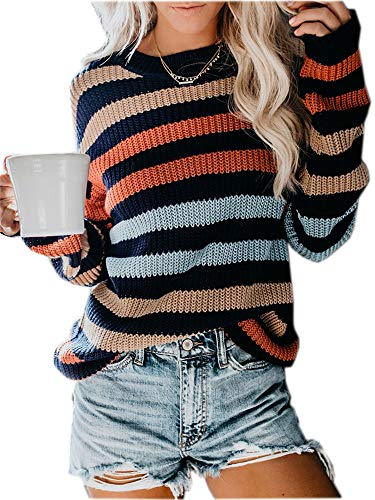 MILLCHIC Womens Color Block Oversized Crewneck Sweaters Striped Long Sleeve Loose Chunky Knitted Pullover Jumper Tops JH17-8M1-XTWheise-M