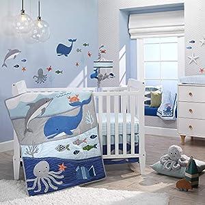 Lambs & Ivy Ocean Blue 4-Piece Baby Crib Bedding Set – Blue, White, Aquatic
