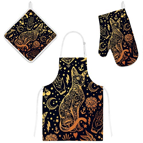My Little Nest Oven Mitts Apron with 2 Pockets Pot Holders 3 Pieces Set Vintage Style Magic Cat Heat Resistant Potholders Chef Kitchen Cooking BBQ Baking for Man Women Kids