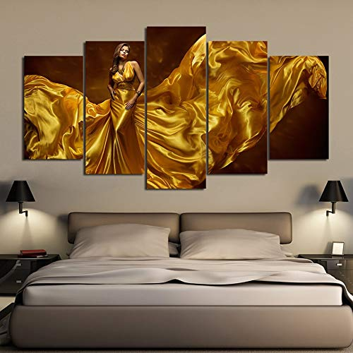 FFFZDCKAY Cuadro en Lienzo 5 Partes Art Print Painting Poster HD Sexy Golden Dress Mujer Canvas Wall Picture For Home Decor Kids Room Sin Marco