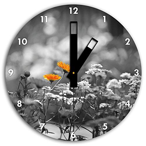 Belles fleurs de jardin, fleur pré noir / blanc, diamètre 30cm horloge murale avec du noir au carré les mains et le visage, objets décoratifs, Designuhr, aluminium composite très agréable pour salon, bureau