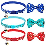 BINGPET Breakaway Cat Collar with Bell 3 Pack, Adjustable Luminous Kitten Collar with Star & Moon Patterns, Removable Bow Tie, Glow in The Dark