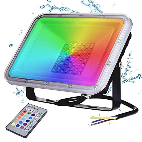 RGB LED Strahler 50W,YIQIBRO LED Fluter IP67 Wasserdicht mit Fernbedienung 16 Farben 4 Modi Musik Rhythmus LED Flutlichtstrahler LED Flutlicht Stimmungslichter Außen Innen