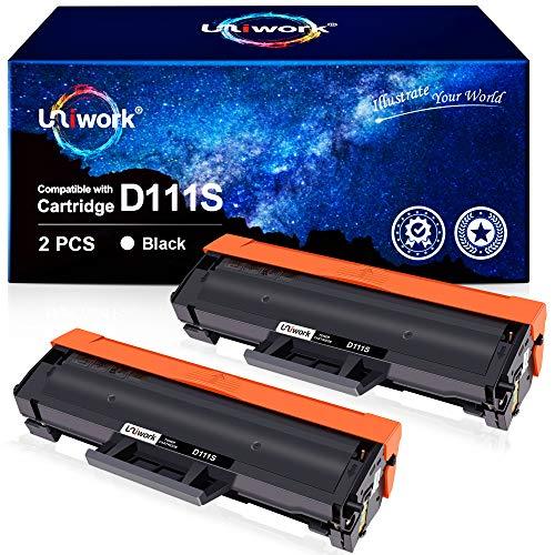 Uniwork D111S Cartuchos de tóner Reemplazo para Samsung MLT-D111S Compatible con Samsung Xpress M2020 M2020W M2022 M2022W M2026 M2026W SL-M2070 SL-M2070W SL-M2070F SL-M2070FW (2 Negro)
