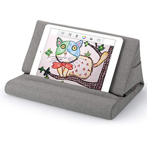 タブレット スタンド ピロー iPadホルダー枕、ブックスタンド枕 車内/ソファ/ベッドで使いやすく、多角的な角度、収納袋があり、サイズの異なるタブレット スマホ iPhone iPad 本に適しています (ライトグレー)