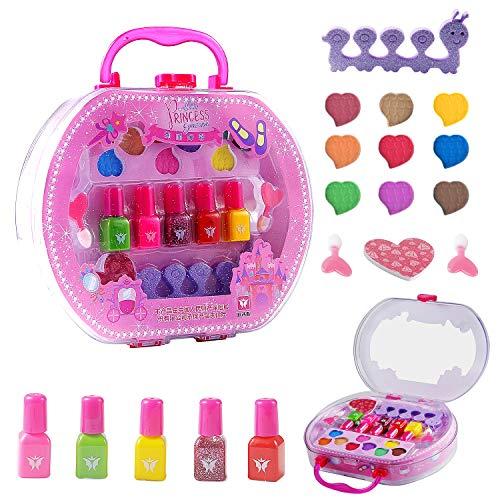 Colmanda Makeup Spielzeugset, 18 Stück Makeup Set für Kinder Kinderschminke Set, Waschbar Schminkset Spielzeug für Mädchen Spiel Halloween Weihnachts Geburtstag
