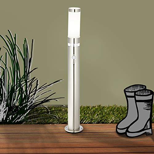 Außenstandleuchte mit Bewegungsmelder, 1x E27 max. 60W, Metall/Kunststoff, edelstahl