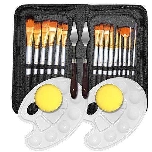 FineGood - Juego de 15 pinceles de pintura al óleo con 2 cuchillos, espátula, 2 bandejas de paleta de pintura y 2 esponjas para acuarela