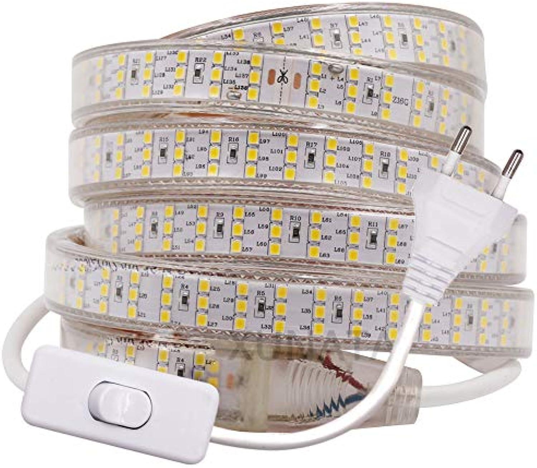 XUNATA Drei Reihen 220V 2835 SMD 276leds   m IP65 Wasserdicht,Kein Selbstklebender,Flexibles LED Lichtschlauch für Küche Stairway Home Weihnachten Party Deko (Wei, 17M)