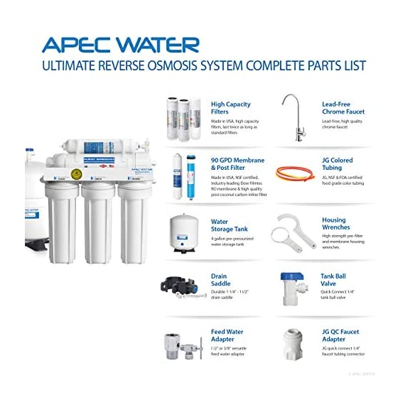 APEC Water Systems RO-90 Ultimate Series Top Tier Supreme Certified High Output 90 GPD Ultra Safe Reverse Osmosis… 6 Enjoy unlimited ultra-fresh, clean, great tasting water right at home. Save money, time and hassle of buying costly, bottled water Designed, engineered and assembled in USA, RO-90 is the most durable system in the industry to guarantee water safety & your health Tested and certified by WQA to remove up to 99% of contaminants including arsenic, chlorine, lead, fluoride, heavy metals, virus and 1000+ contaminants