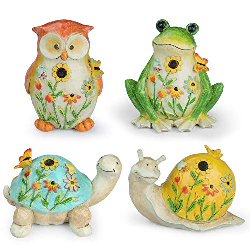 Giftchy Garden Animal Figurines with Flower and Butterfly Decorations Set of 4  Frog  Owl  Turtle & Snail Garden Statues  Resin Outdoor Spring Décor and Home Décor  4.625  L